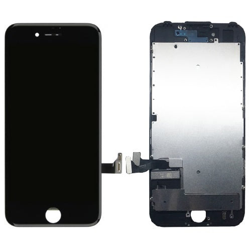 For iPhone 8 | SE 2020 LCD & Digitizer & Pre-installed Metal Back Plate (Aftermarket, Premium Plus) - Black
