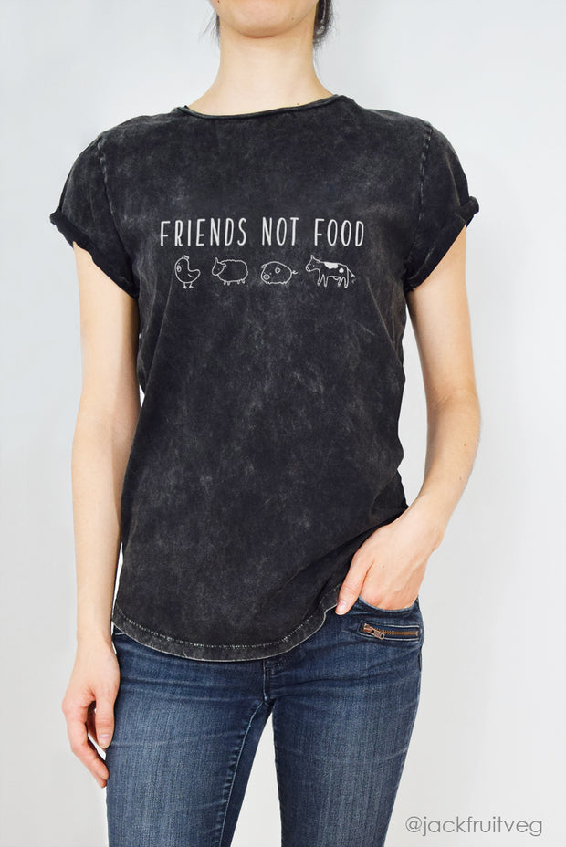 Friends Not Food Rolled Sleeve Tee