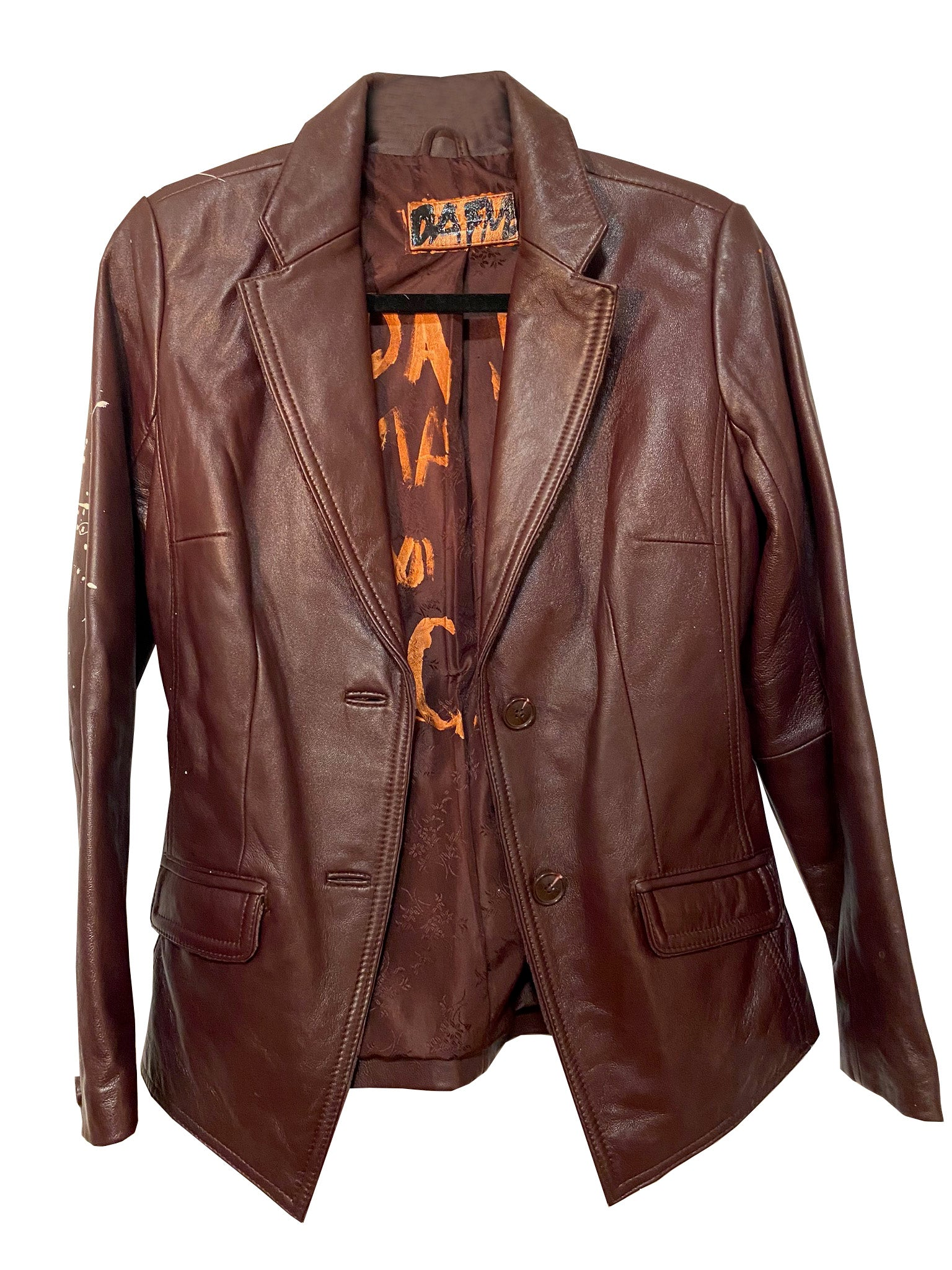 BROWN LEATHER JACKET HAND PAINTED