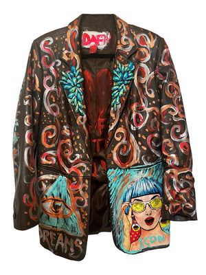 DARK BROWN LEATHER JACKET HAND PAINTED AND EMBROIDERIES