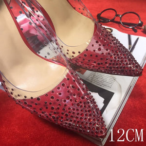 0294e6425b0 Red Bottom Women High Heel Clear Colorful Crystal Pumps
