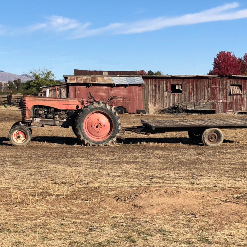 rustic tractor sitting in front of a decrepit barn