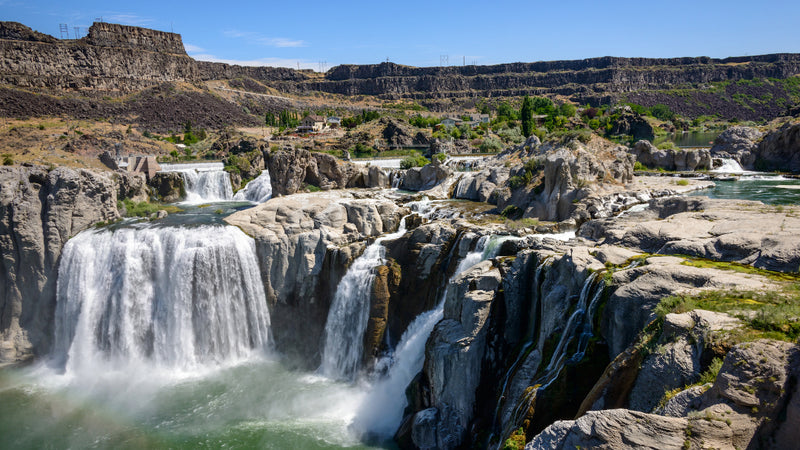 a strong current flows over Shoshone Falls in Idaho