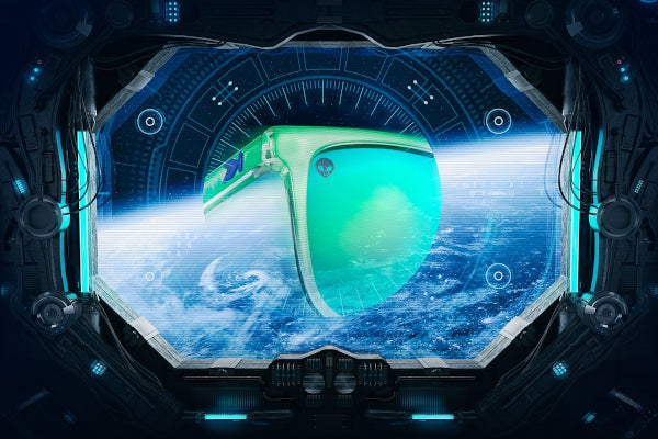 alien invasion! sunglasses looking down at earth from space