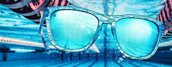 knockaround sunglasses in a swimming pool