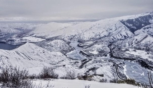 View from Top of Cervidae Peak, Idaho in the winter