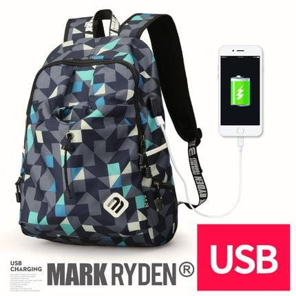 Collegiate Edition Backpack--blue cube with USB charging