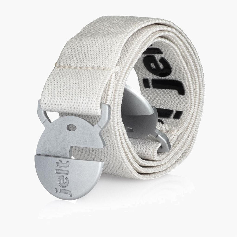 Jelt Limited Edition Glacier White & Silver Elastic Belt--rolled