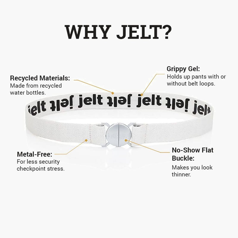 Jelt Limited Edition Glacier White & Silver Elastic Belt--features