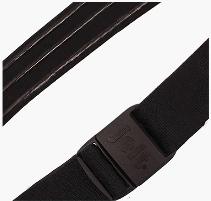 JeltX Black Adjustable Elastic Belt--fastened--close up