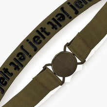 Load image into Gallery viewer, Jelt Khaki Green Elastic Belt--fastened--close up