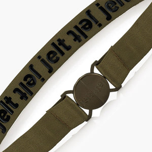 Jelt Khaki Green Elastic Belt--fastened--close up