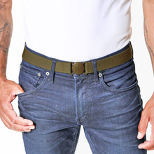 Load image into Gallery viewer, Jelt Khaki Green Elastic Belt--on a man