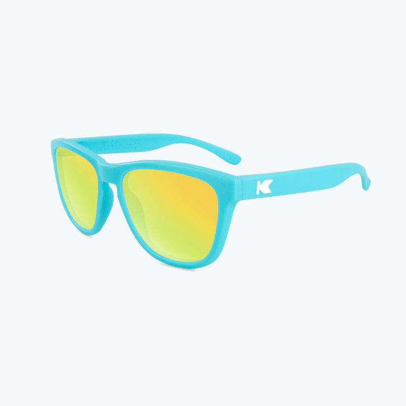knockaround affordable kids sunglasses matte blue and yellow premiums-flyover view