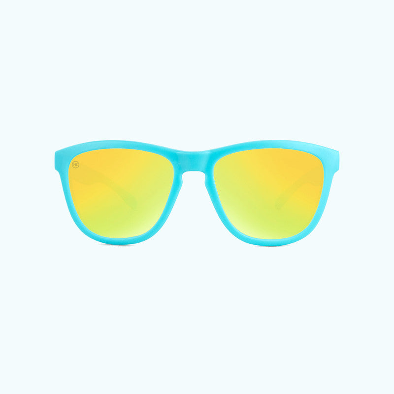 knockaround affordable kids sunglasses matte blue and yellow premiums-front view