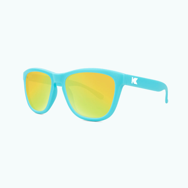 knockaround affordable kids sunglasses matte blue and yellow premiums-threequarter view