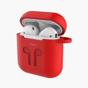 ROCK Silicone Apple AirPods Case w/ Bud Connector--Red