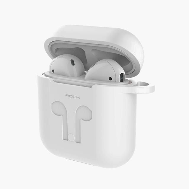 ROCK Silicone Apple AirPods Case w/ Bud Connector--White