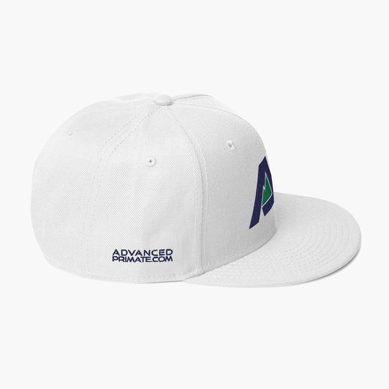 AP Snapback Hat--White--side view