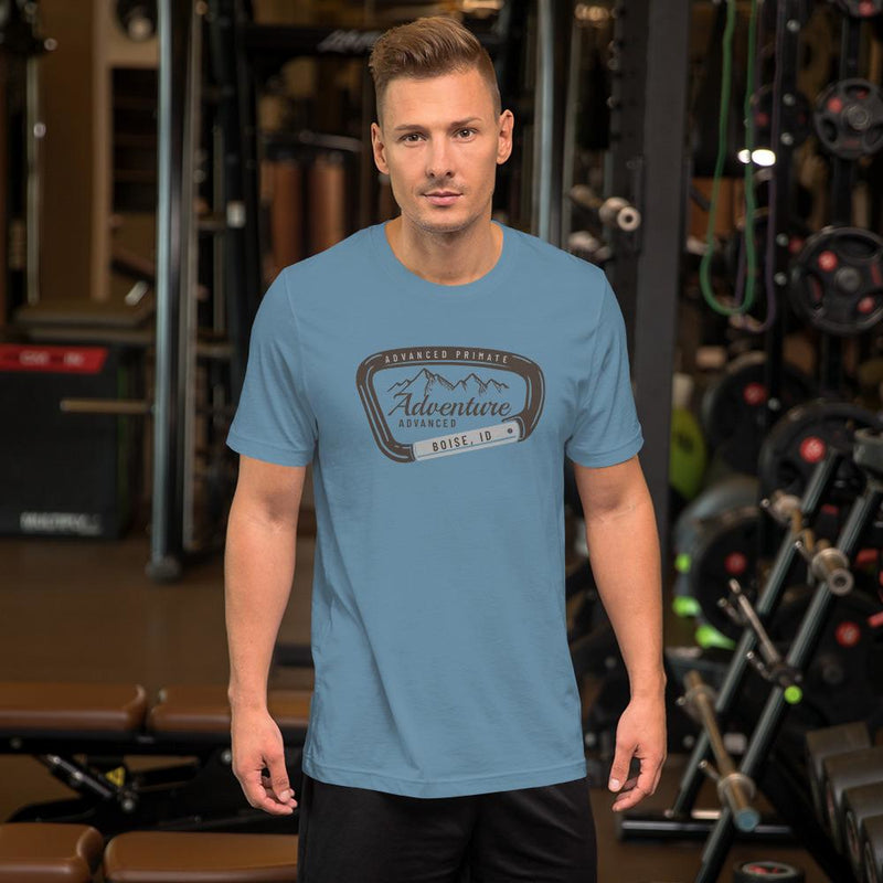 mountain adventure tee--male model in gym