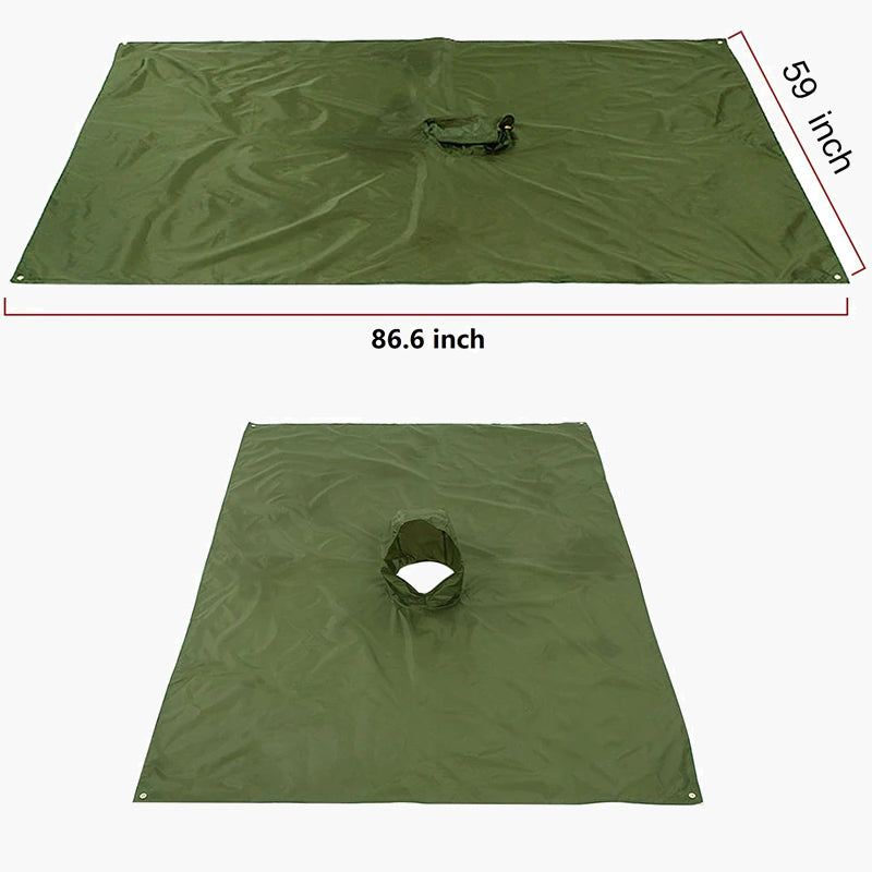 3 in 1 raincoat poncho olive drab--ground cover view