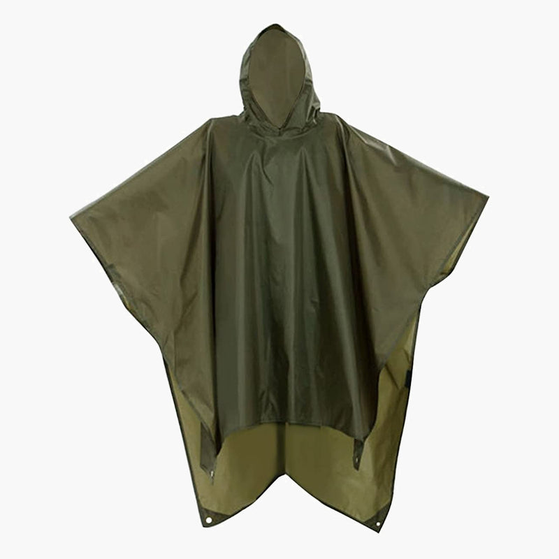 3 in 1 raincoat poncho olive drab--main view