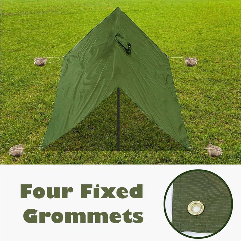3 in 1 raincoat poncho olive drab--tent shelter view