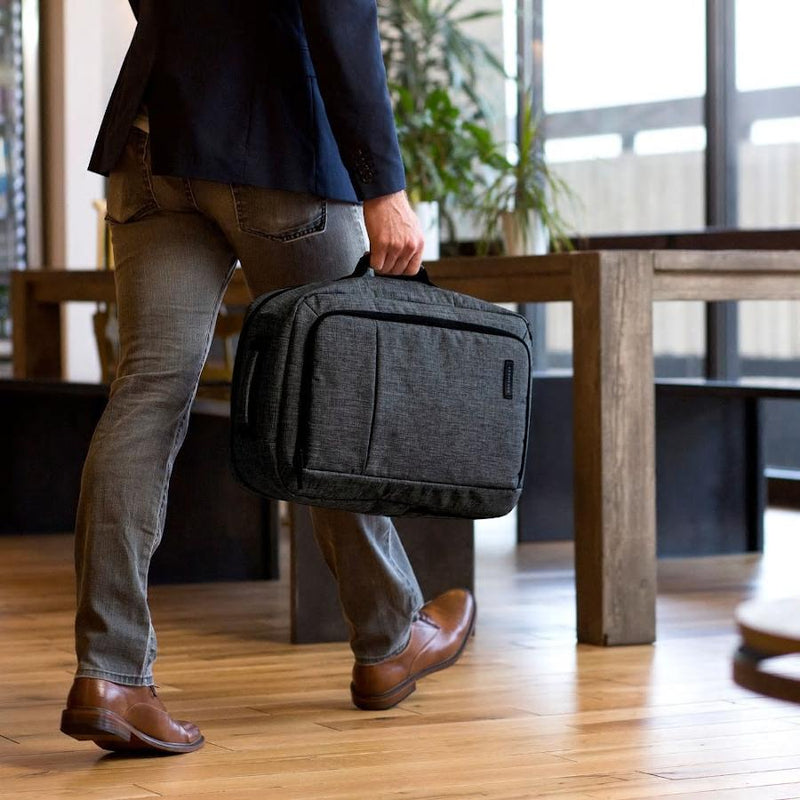 Nomad--charcoal--in use as a briefcase.