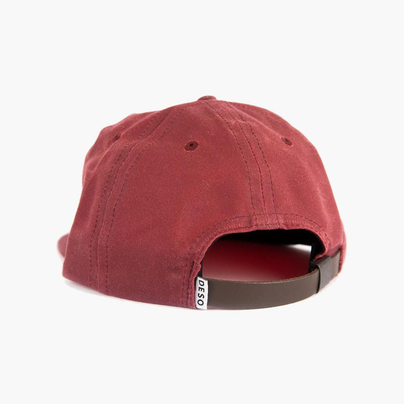 everywhere in between waxed canvas 5 panel cap in burgundy--back view