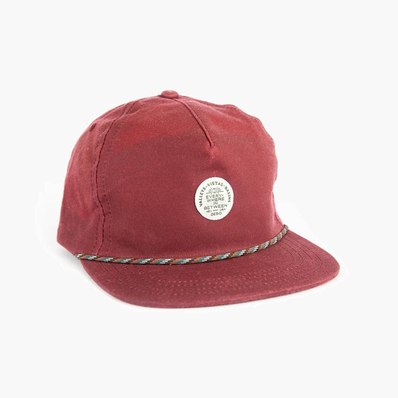 everywhere in between waxed canvas 5 panel cap in burgundy--front view