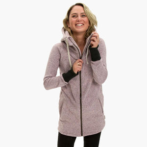 Deso Supply Co. Heather Lilac Wanderer Zip Hoodie--on model