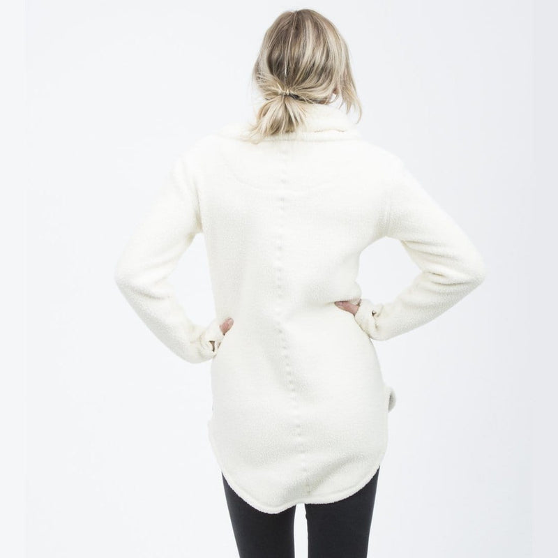Deso Supply Co. Tallac Winter White Pullover--on model--back view