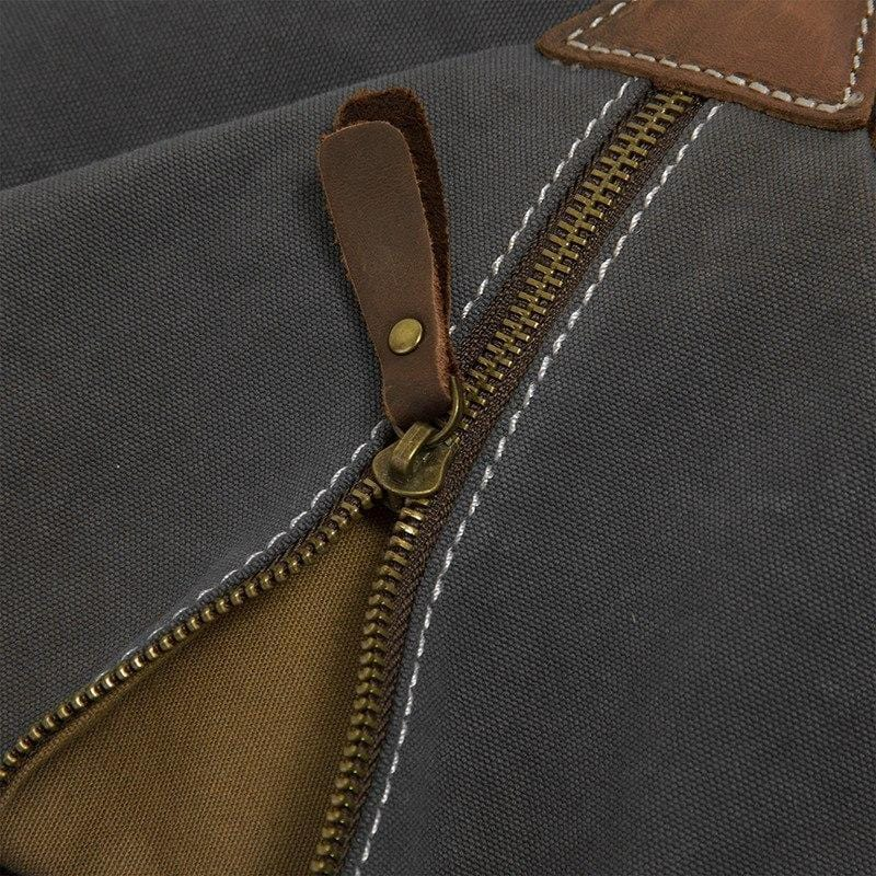 Canvas & Leather Rucksack--zipper