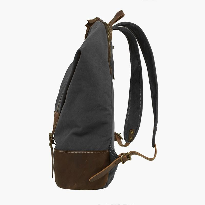 Canvas & Leather Rucksack--side view