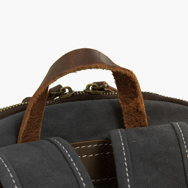 Canvas & Leather Rucksack--top hook