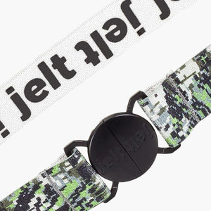 Jelt Digital Camo Elastic Belt--fastened--close up