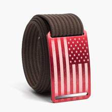 Load image into Gallery viewer, Grip6 USA Red Flag Belt--mocha