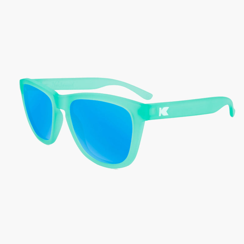 Knockaround Frosted Mint Aqua Premium Sunglasses--flyover view