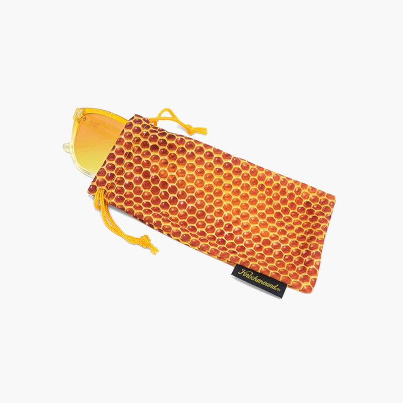 Hive Mind Premiums Knockaround Sunglasses--honeycomb pouch view
