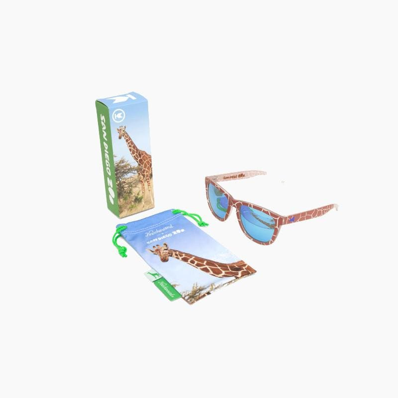 Knockaround Reticulated Giraffe Limited Edition Sunglasses--commemorative pouch and packaging