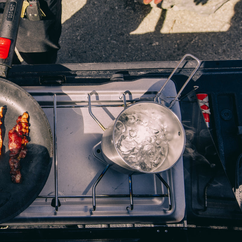 Stanley Adventure Compact Camp Cook Set--boiling water on camp stove