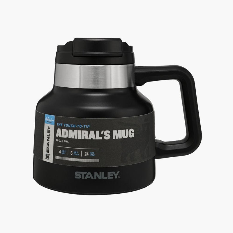 stanley tough to tip admiral's mug matte black--front label