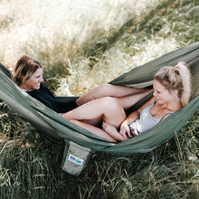 Load image into Gallery viewer, Trek Light Khaki & Green Double Hammock--two people