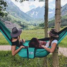 Load image into Gallery viewer, Trek Light Teal & Navy Double Hammock--two people, mountain meadow