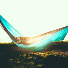 Load image into Gallery viewer, Trek Light Teal & Navy Double Hammock--sunrise