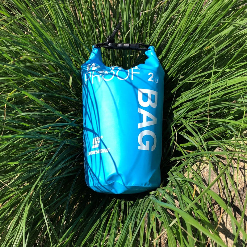 Waterproof Dry Bag--Blue in tall grass
