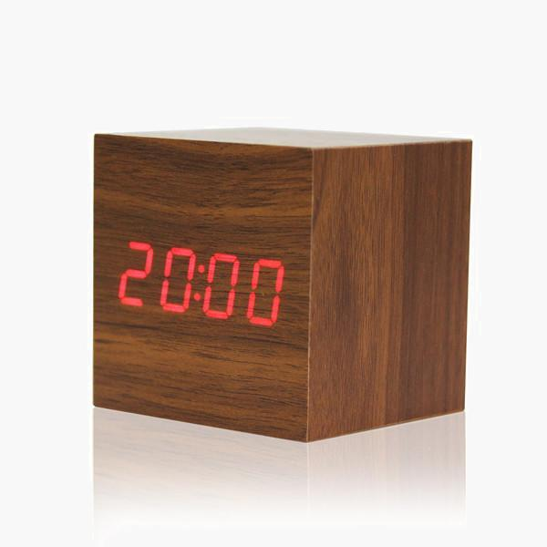 Wood Block LED Clock w/ Temperature
