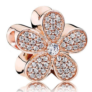 925 Sterling Silver Rose Gold-Color Daisy Pandora Compatible Charm