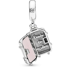 "Load image into Gallery viewer, 925 Sterling Silver ""Ready ro Explore"" Travel Suitcase Pandora Compatible Dangle Charm"