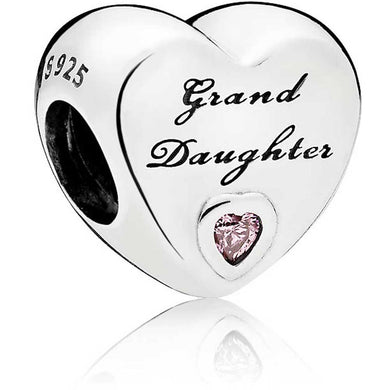 925 Sterling Silver Grand Daughter Heart Pandora Compatible Bead Charm